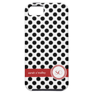 Polkadotted Black White and Red Personalized Name iPhone 5 Case