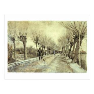 Pollard Willows, Man with Broom, Van Gogh Fine Art Postcard