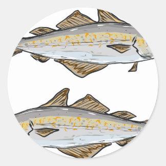 Pollock Fish Sketch Classic Round Sticker