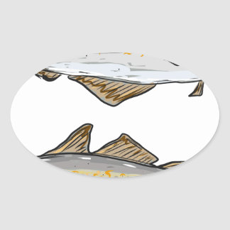 Pollock Fish Sketch Oval Sticker