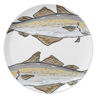 Pollock Fish Sketch Plate