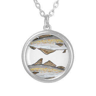 Pollock Fish Sketch Silver Plated Necklace