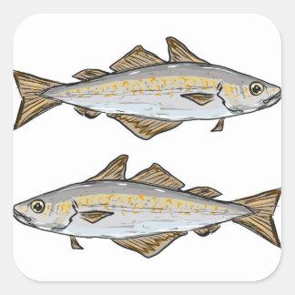 Pollock Fish Sketch Square Sticker