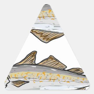 Pollock Fish Sketch Triangle Sticker