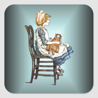 Polly and Her Dolly Kate Greenaway 1846-1901 Square Stickers