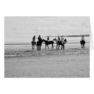 Polo Match St Andrews West Sands Beach B&W Photo Card