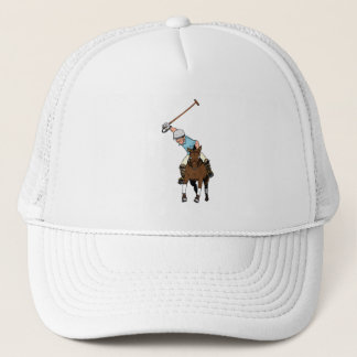 Polo Player Rides Horse Swings Mallet Trucker Hat