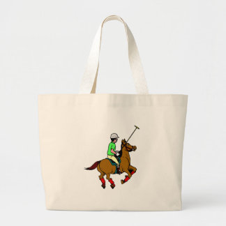 Polo Player Rides Pony Swings Mallet Large Tote Bag