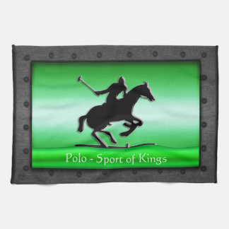 Polo, riveted steel frame with green chrome-effect tea towel