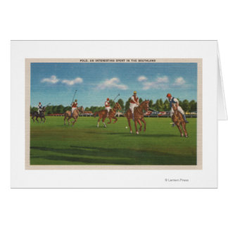 Polo Scene with Players and Horses on Lawn Card