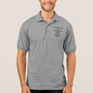 Polo shirt company logo and text