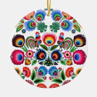 Polska Folk Flowers Round Ceramic Decoration