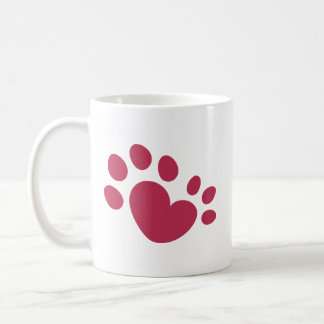 Polydactyl Cat Paw Print Heart Coffee Mug