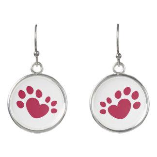 Polydactyl Cat Paw Print Heart Earrings