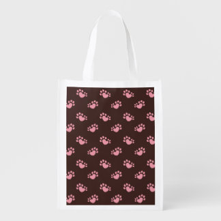 Polydactyl Cat Paw Print Heart Reusable Grocery Bag