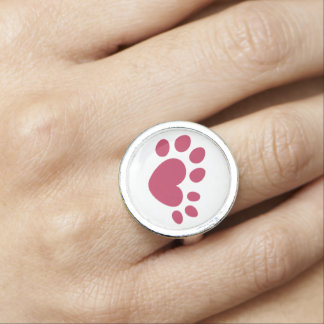Polydactyl Cat Paw Print Heart Ring