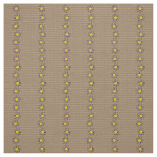 Polyester fabric brown yellow floral custom