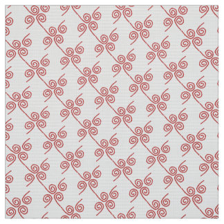 """Polyester Fabric white red """"ropes"""" custom"""