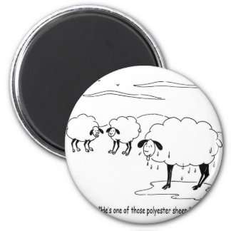 polyester sheep 6 cm round magnet