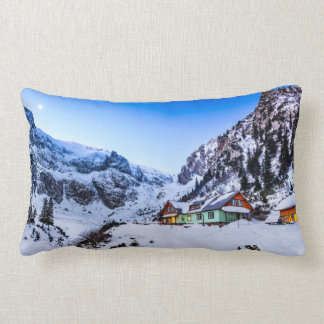 Polyester Throw Pillow, Malaiesti, Bucegi mountain Lumbar Cushion