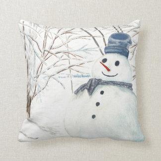 Polyester Throw Pillow, Throw Pillow with Snowmen