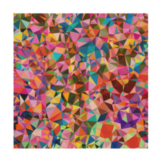 Polygon Color Pattern Wood Print