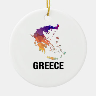 Polygon Mosaic Map of Greece Ceramic Ornament