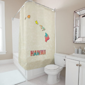 Polygon Mosaic Parchment Map HAWAII Shower Curtain