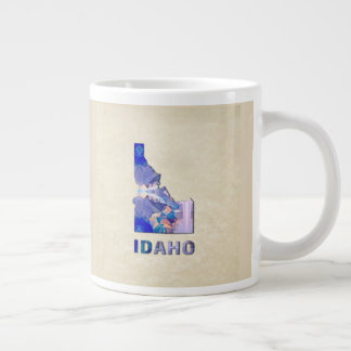 Polygon Mosaic Parchment Map IDAHO Large Coffee Mug