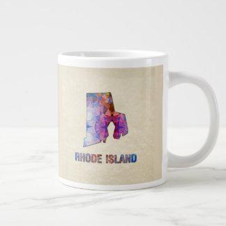 Polygon Mosaic Parchment Map RHODE ISLAND Large Coffee Mug
