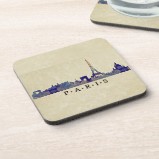 Polygon Mosaic Skyline of Paris Beverage Coaster