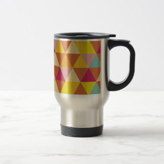 Polygon Multi color Triangles in Geometrical Shape Stainless Steel Travel Mug