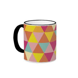 Polygon Multi color Triangles in Geometrical Shape Ringer Mug