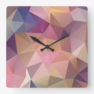 Polygon pink purple yellow background . square wall clock