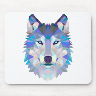 Polygon wolf - geometric wolf - abstract wolf mouse pad