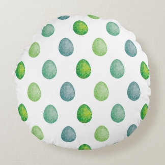 Polygonal eggs pattern in green colours round cushion