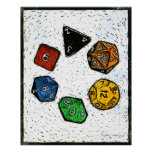 Polyhedron_dice-circle-lino-Outland_Arts-17inch-30 Poster