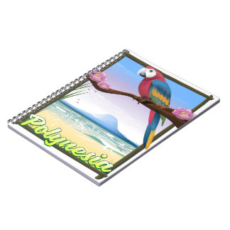 Polynesia Beach travel poster Notebook