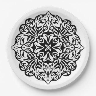 Polynesian Maori style tattoo mandala ethnic art Paper Plate