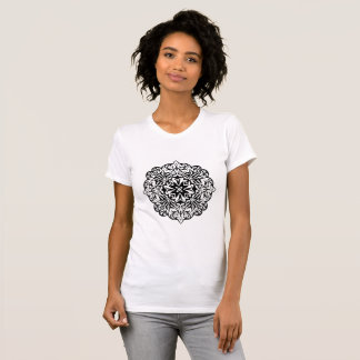 Polynesian style tattoo mandala black and white T-Shirt
