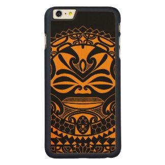 Polynesian tiki mask design carved maple iPhone 6 plus case