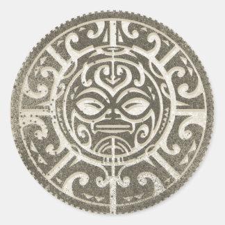Polynesian Tribal Face Brown Round Sticker