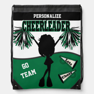 Pom Pom Cheerleader | Dark Green White Black Drawstring Bag