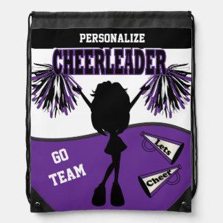Pom Pom Cheerleader in Purple, White & Black Drawstring Bag