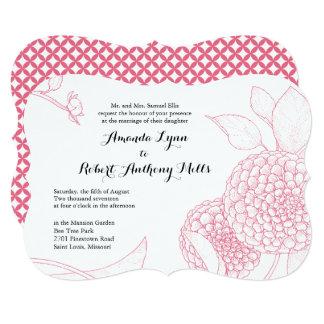 Pom Pom Dahlia Wedding Invitation- Peony Pink Card