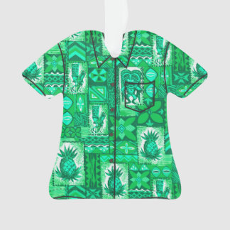 Pomaika'i Tiki Hawaiian Vintage Tapa Aloha Shirt Ornament