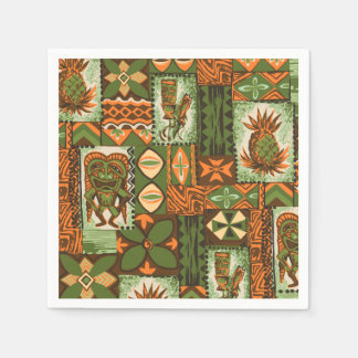 Pomaika'i Tiki Hawaiian Vintage Tapa Disposable Napkins