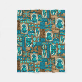 Pomaika'i Tiki Hawaiian Vintage Tapa Fleece Blanket