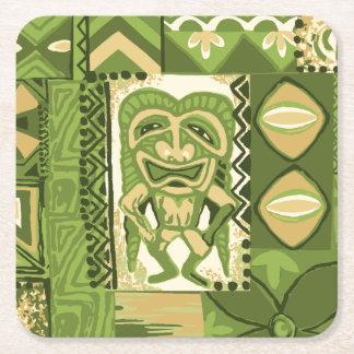 Pomaika'i Tiki Hawaiian Vintage Tapa Square Paper Coaster