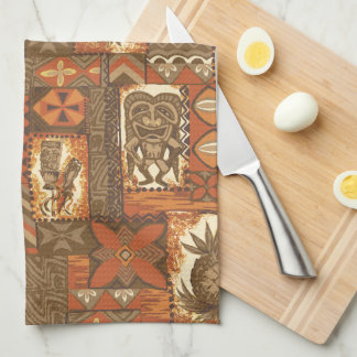 Pomaika'i Tiki Hawaiian Vintage Tapa Tea Towel
